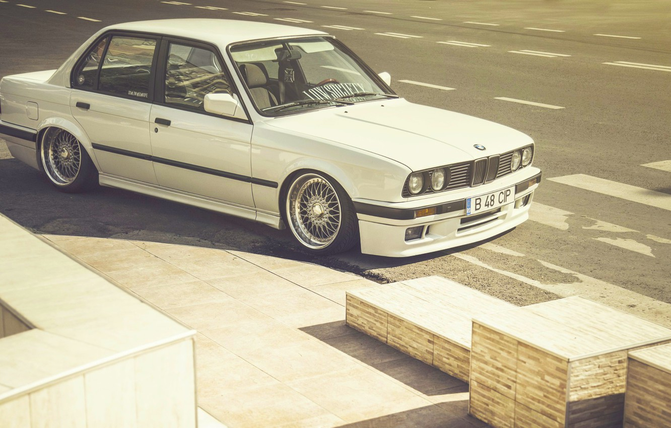 Photo wallpaper BMW, Car, E30, BBS, Stance, Wheels, Lowsociety