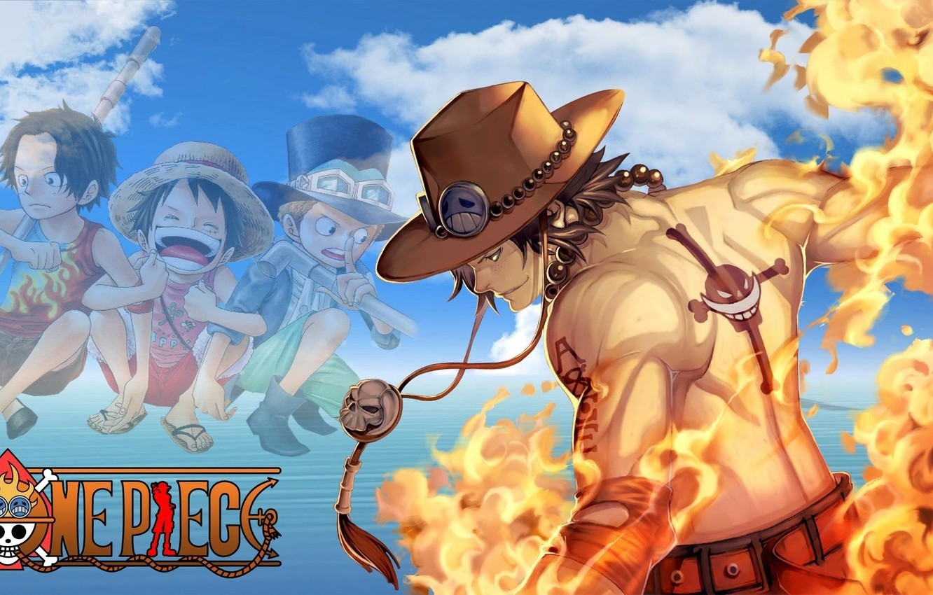 Photo wallpaper fire, sake, flame, logo, game, One Piece, sky, pirate, hat, anime, cloud, tatoo, captain, asian, …
