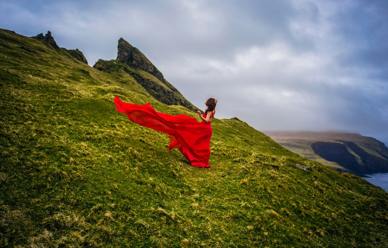 Photo wallpaper girl, coast, Denmark, red dress, Faroe Islands, Faroe Islands, Denmark, Mykines, the island Mykines
