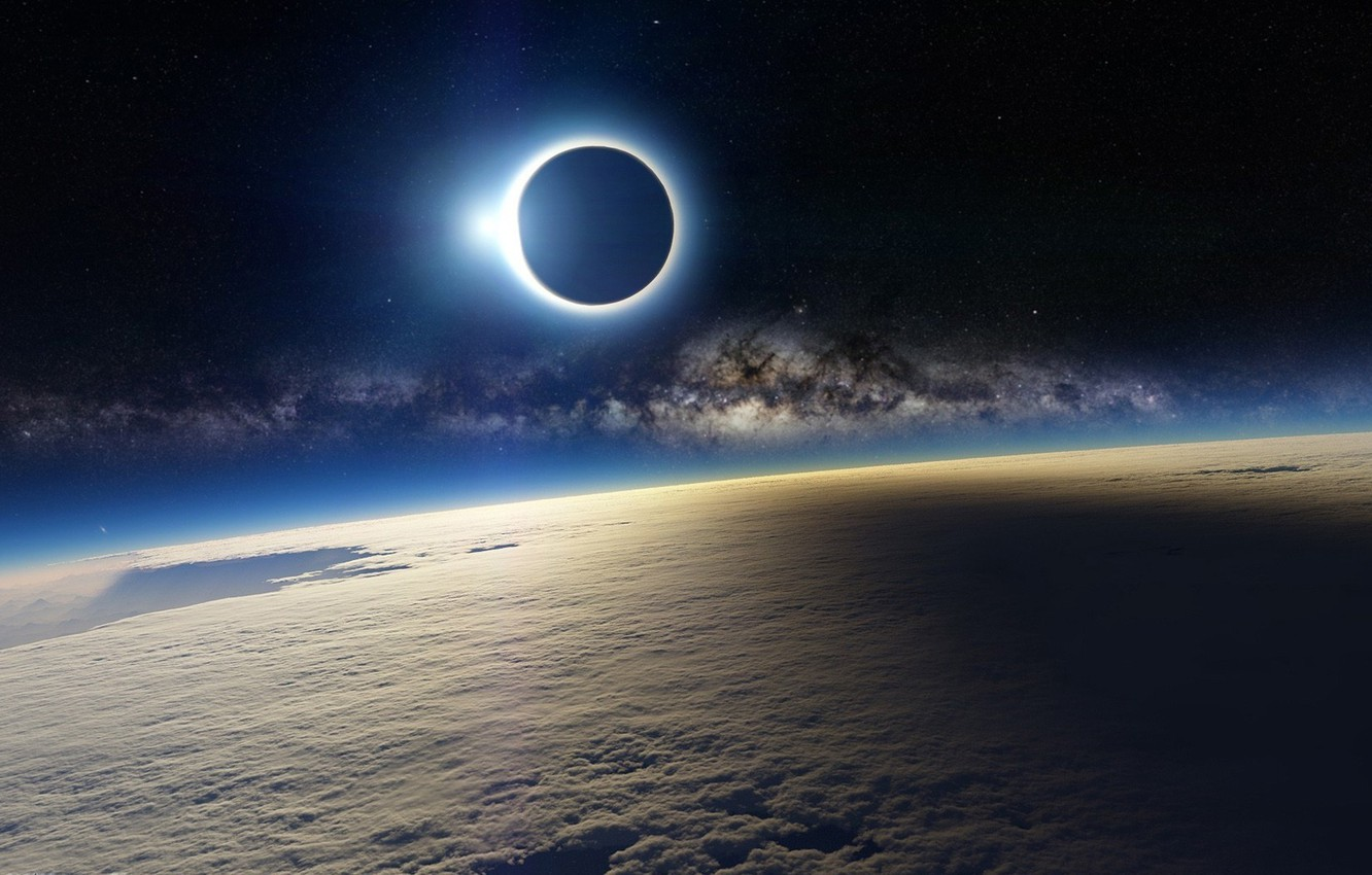 Photo wallpaper space, clouds, the moon, stars, Earth, The milky way, Blik, solar Eclipse
