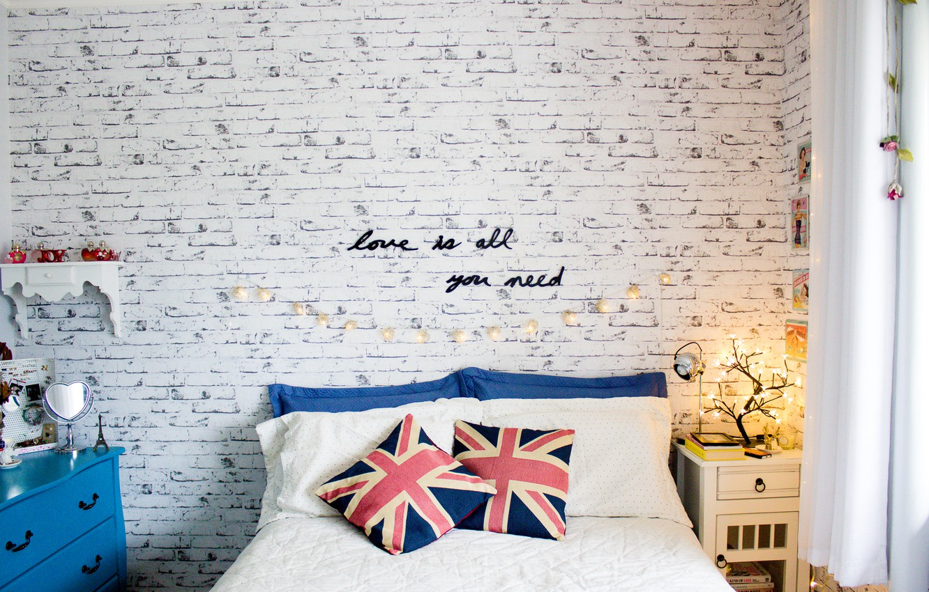 Photo wallpaper text, wall, the inscription, bed, pillow
