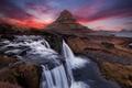 Picture landscape, mountain, waterfall, Island, Kirkjufell, Waterfall
