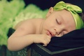 Picture girl, child, baby, ribbon, baby, bow, sleep