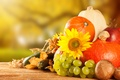 Picture autumn, apples, mushrooms, harvest, grapes, pumpkin, fruit, vegetables