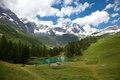 Picture snow, mountains, mountain, lake, lake, emerald, landscape, landscape