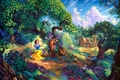 Picture flowers, Walt Disney, forest, painting, house, cartoon, Snow Whites Magical Forest, Snow Whites, Tom duBois