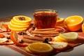 Picture cinnamon, tea, Cup, oranges