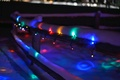 Picture garland, colorful, snow, nature, winter, fence, lights, lights, wooden, blur, the fence, night