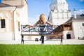 Picture GREENS, LAWN, HOME, GRASS, SHOP, BLONDE, GREEN, The CITY, LAWN, BUILDING, GIRL, BENCH, SPRING
