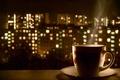Picture night, lights, coffee, hot, mug