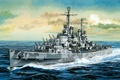 Picture easy, ship, art, USA, Navy, Stroy, cruiser, Navy, San Diego, Atlanta, type, WW2., light, fleet, ...