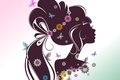 Picture flowers, background, eyelashes, face, profile, hair, girl, silhouette, butterfly