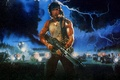 Picture lightning, Sylvester Stallone, art, machine, rain, the storm, figure, night, machine gun, helicopter, forest, weapons, ...