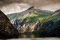 Picture clouds, lake, rocks, mountains
