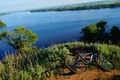 Picture bike, tree, river, nature, hill