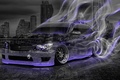 Picture Night, The city, Smoke, Neon, Machine, Style, Wallpaper, Drift, Toyota, Drift, Car, Purple, Art, Photoshop, ...