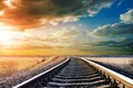 Picture the sky, beautiful, day, Railway, clouds, railroad, tracking, warm, rails, landscape, landscape