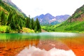 Picture mountains, Colorado, Maroon Bells, the bottom, gorge, lake, water, forest, rocks, stones, USA