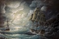 Picture clouds, storm, ships, the ocean, painting, wave, sails, lighthouse, the sky