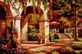 Picture picture, Sung Kim, painting, painting, arch, facade, house, autumn