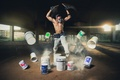 Picture music, paint, guy, respirator, bucket