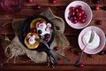 Picture berries, cream, pancakes, plug, cherry, spoon