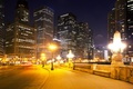 Picture USA, lights, night, street, lights, home, road, the sidewalk, skyscrapers, Chicago