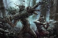 Picture fiction, wolf, art, axe, werewolf, fight, werewolf, treant