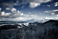 Picture snow, mountains, winter, trees, the slopes, clouds, the sky, horizon, landscape