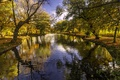 Picture River Dearne, England, river Turf, Barnsley, South Yorkshire, South Yorkshire, Barnsley, autumn, trees, England, Park, ...