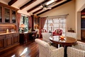 Picture table, chair, fan, window, dining room, buffet
