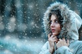 Picture fur, girl, hood, cold, Alessandro Di Cicco, snow, Let it snow