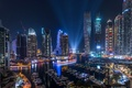 Picture light, Dubai, the city, lights, the evening, night, Marina, UAE