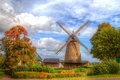 Picture HDR, Germany, trees, the bushes, mill, leaves, Minden, house, the sky, autumn, clouds