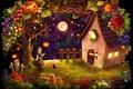 Picture cat, girl, vegetables, hut, halloween, pumpkin, crosses, the moon, house, fruit, harvest, night, Ghost, stars, ...