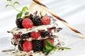 Picture raspberry, chocolate, mint, dessert, BlackBerry, sweet