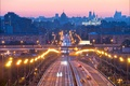 Picture bridge, road, home, Russia, lights, the evening, Moscow, lights