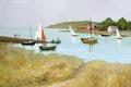 Picture flowers, picture, shore, people, sea, boats, Marseille Dif, The Passage St. Armel, grass, landscape