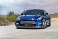 Picture nissan, GT-R, blue, Wheels, Strasse
