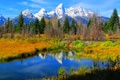 Picture autumn, the sky, grass, snow, trees, mountains, lake, reflection, Wyoming, USA, grand teton national park