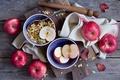 Picture apples, food, Breakfast, plates, fruit, granola