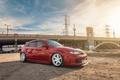 Picture bridge, red, white, wheels, sti, Subaru, tuning, japan, low, wrx, impreza, power, subaru, tuning, turbo, ...