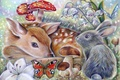 Picture Bambi, thumper, art, rabbit, the little fawn Bambi, butterfly, mushroom