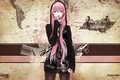 Picture hood, wire, microphone, map, megurine luka, vocaloid, the inscription