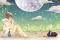 Picture two, girl, stars, the conversation, rabbit, anime, the moon, mood, night, summer, phone, friends