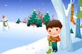 Picture snowman, tree, snow, baby Wallpaper, winter, the village, boy