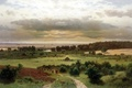 Picture picture, canvas, Lesnye Dali, trees, Kryzhitsky, road, the bushes, painting, the herd, field, meadow, clouds, ...