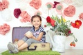 Picture flowers, girl, child, lake, mood, children, suitcase