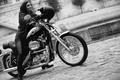 Picture helmet, motorcycle, girl, bike, Harley Davidson