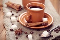 Picture Anis, Cup, coffee, sugar, grain, saucer, star anise, spices, cinnamon, spoon